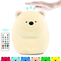 Cute Night Light for Kids, Makion The Logy Bear Touch & Rmote Control Soft Silicone Nursery Night Light for Boys and Girls,Dimmable 7 Color Changing Bright Nightlight