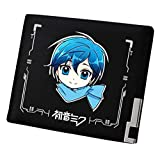 Cosstars Hatsune Miku Portafoglio Uomo in Pelle Sintetica Borsellino Piccolo Portamonete Sottile Slim Wallet Nero /8