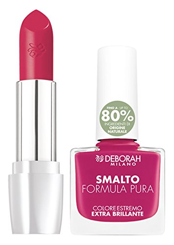 Deborah Milano Kit Make Up Smalto e Rossetto Formula Pura, 02 Fuxia
