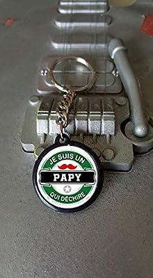 Porte clés 25 mm Je suis un Papy qui déchire