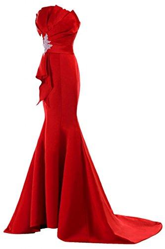 Sunvary Neu Mermaid Traegerlos Abendkleider Lang Satin Ballkleider Partykleider Rot