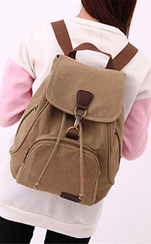 Blue Vessel Frauen Männer Leinwand Travel Tasche Schulter Tasche Rucksack School Rucksack Khaki