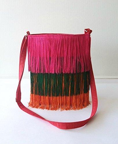 Handgefertigte Rote Tasche (Schulter-Tasche - Rot Fringes - Umhängetasche handgefertigt in Jeans und Baumwolle)
