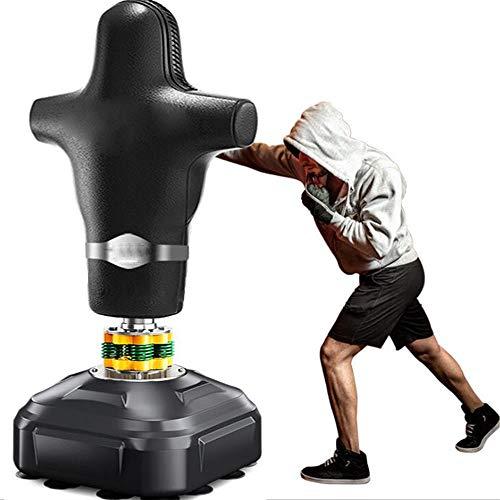 WXH Freistehender Fitness-Boxsack für Menschen Schwerer Boxsack, mit Saugnapfboden, Vierfeder-Doppelrindfleischsehnen-Polsterbecher, Taekwondo Sanda - Zu Hause Boden Puffer