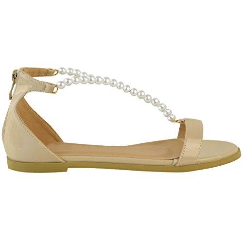 Sandales plates femmes - lanières/strass - été Verni couleur chair / perle blanche