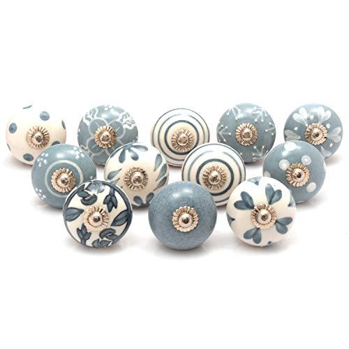Hochwertige Keramik-Türgriffe - Verschiedene 12 Keramikknöpfe in Grau und Weiß, gemischte Designs, Schranktürknöpfe, Schubladengriffe von The Boho Street.
