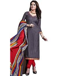 Remarkable Grey Bhagalpuri Silk Straight Suit With Dupatta.