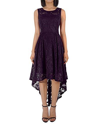 KT-SUPPLY Damen Elegant Schwingendes Kleid aus Spitzen Asymmetrisch Ärmellos Unregelmässig...