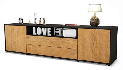 Stil.Zeit TV Schrank Lowboard Armanda, Korpus in Anthrazit Matt/Front im Holz-Design Eiche (180x49x35cm), mit Push-to-Open Technik und Hochwertigen Leichtlaufschienen, Made in Germany -