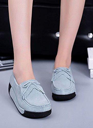 JRenok Mocassins Compensé Femme Loisir Printemps Chaussures Suede Gland Confort Plates Loafers Antidérapante 35-41 Gris