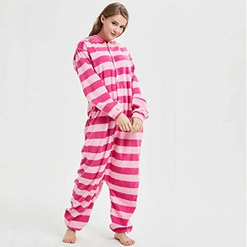 JIAWEIDAMAI Lustige Cheshire Cat Kigurumi Adult Tier Pink Pyjamas Winter Body Cosplay Unisex Nachtwäsche Halloween-Kostüm