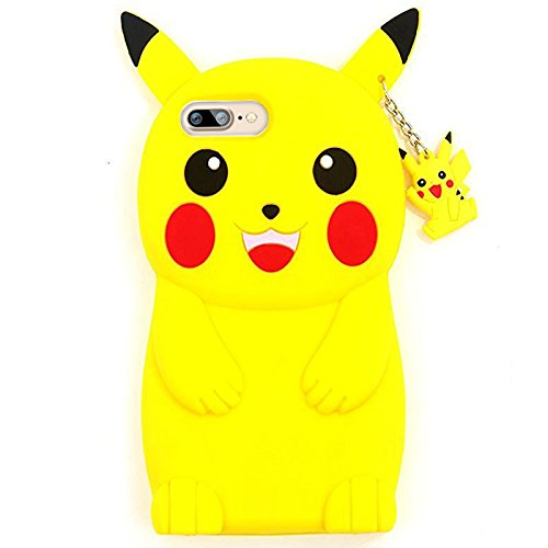 Iphone 7 Plus Case , KoalaGroup® 3d trendy vertical silicone sleeve body Cactus/ Pikachu /Pineapple /drop resistance protective sleeve case cover for iphone 7 Plus (Moon cat) Pikachu head