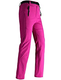 Hibote Aire Libre Pantalones Mujer Impermeables Pantalones de Senderismo Pantalones Softshell Pantalones de Trekking Pantalones de Montaña Transpirable Fleece Lined Pantalones S-3XL