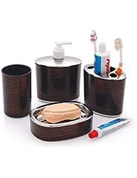 Liza Wooden 4 Piece Bathroom Accessories Set - Soap Dispenser, Toothbrush Holder, Soap Dish & Tumbler (A91WB01)