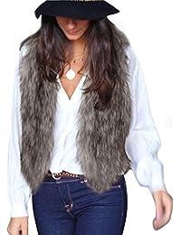 FNKDOR Fausse Fourrure Gilet Femme Hiver Chaud Manteau sans Manche Casual  Fluffy Court Veste Manteau Marron 4fbe1d2ee9d