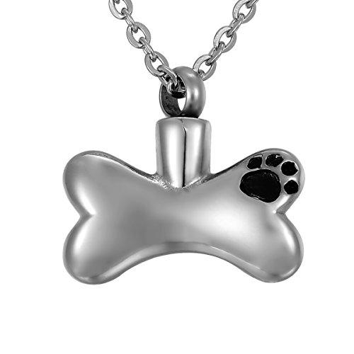 Valyria Memorial Schmuck Urne Dog Paw Print Knochen Anhänger Verbrennung Asche Andenken Halskette -