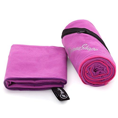 2er-Set Premium Mikrofaser Handtücher | 60x120 + 40x60 cm | saugfähig, leicht und schnelltrocknend | Sport- und Badehandtücher mit Ecktasche | Ideal für Fitness, Yoga, Sauna, Outdoor, Reise (Saugfähig Mikrofaser)
