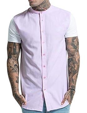 Sik Silk Hombre Contraste Camiseta de manga corta, Rosado