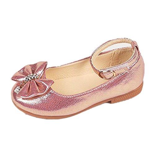 Byste scarpe da bambina bowknot scarpe da principessa fondo morbido scarpette da ballo scarpe singole ragazze mary jane scarpe basse principessa bridal partito formale (22 eu, rosa)