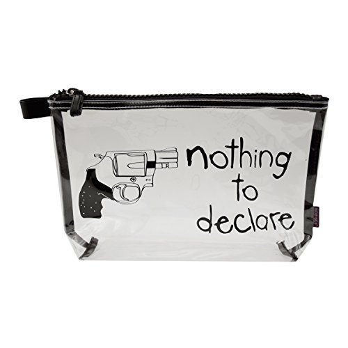 Incidence Paris 61628 Trousse de Toilette Nothing to Declare Revolver Transparent et Noir Fermeture Zip PVC et Nylon, 31 cm, Transparent