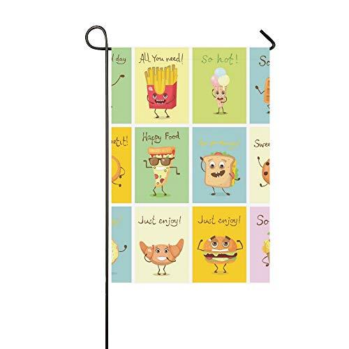JOCHUAN Wohnkultur Cartoon Karten Lustige Lebensmittel Zeichen Garten Flaghouse Yard Flaggarden Yard Decorationsseasonal Willkommen Outdoor Flagge 12X18 Zoll -