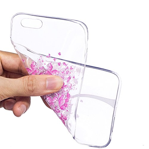 Meet de iPhone 6 Plus / 6s Plus Coque Antidérapant Transparent TPU Silicone Gel Housse Étui Protecteur Cover Case Souple Ultra Mince pour iPhone 6 Plus / 6s Plus-Candy amour Arbre à fleurs