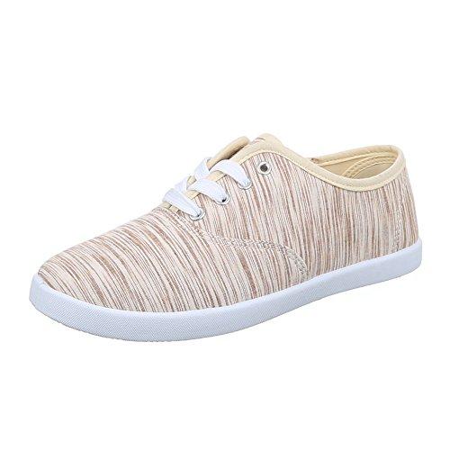 Damen Schuhe, C27-20, FREIZEITSCHUHE SLIPPER SNEAKERS Beige