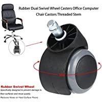Rouku Ruedas dobles giratorias de goma Ruedas giratorias para sillas de oficina Oficina con vástago roscado