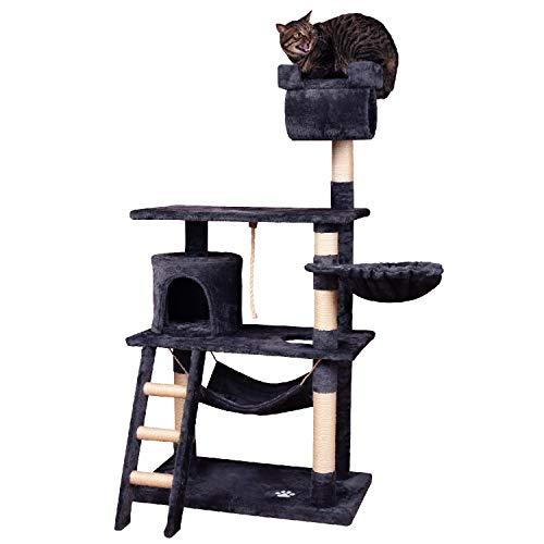 MC Star Árbol para Gato con Rascador de 141cm,Arañazo Juguete de Gatos de Sisal Natural,(Gris, Beige)