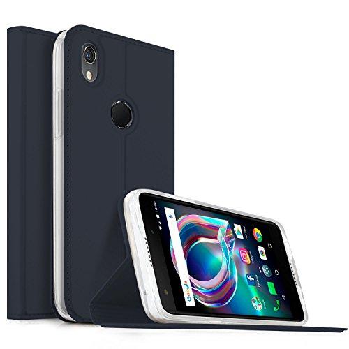 Alcatel Idol A7 XL Hülle, KuGi Alcatel Idol A7 XL Flip Bookstyle Kompletter Schutz Mit Magnetverschluss und Standfunktion Tasche Etui Cover Case Schutzhülle für Alcatel Idol A7 XL Smartphone (Blau)