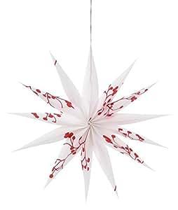Räder Design - Décoration de Noël - Papier Calque Imprimé - Etoile Rouge/Blanc - ZWEIG - Ø 28 cm