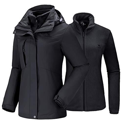 CAMEL Damen wasserdichte Winterjacke Ski 3-in-1 Jacke mit Fleecejacke Winddichte Hardshell-Jacke Regenjacke Outdoorjacke mit Taschen Funktionsjacke