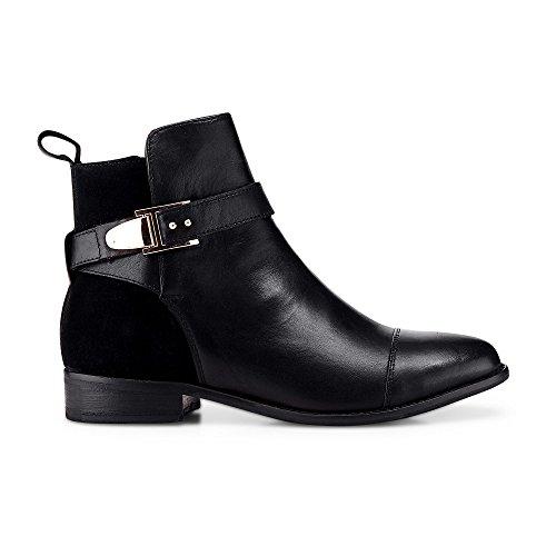 Cox Damen Damen Trend-Bootie aus Leder, Schwarze Stiefeletten mit Schnallen-Applikationen schwarz Glattleder 37