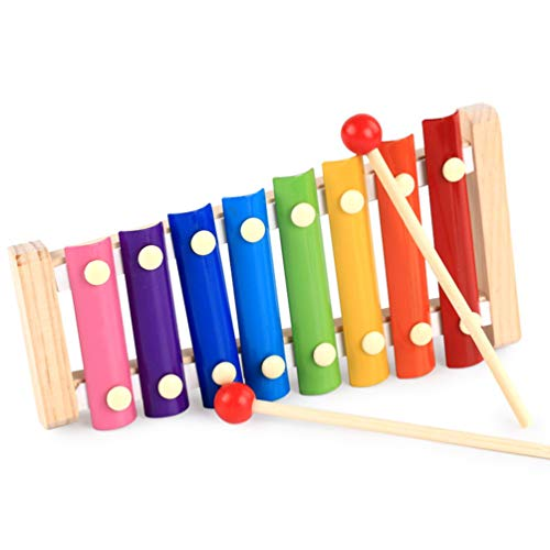Xilofono in Legno, Bussola Xylophone Preschool Music in strument Musical Toy in strument Piano e 8 Colored Metal Key per Kids Toddlers