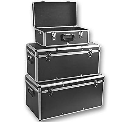 Torrex 3er Set Alu-Boxen 26 / 67 / 100 Liter abschließbar in Schwarz oder Silber - Alukiste Werkzeugkiste Transportbox Lagerbox Lagerkiste (Schwarz)
