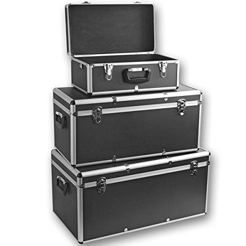 Preisvergleich Produktbild Torrex 3er Set Alu-Boxen 26 / 67 / 100 Liter abschließbar in Schwarz oder Silber - Alukiste Werkzeugkiste Transportbox Lagerbox Lagerkiste (Schwarz)