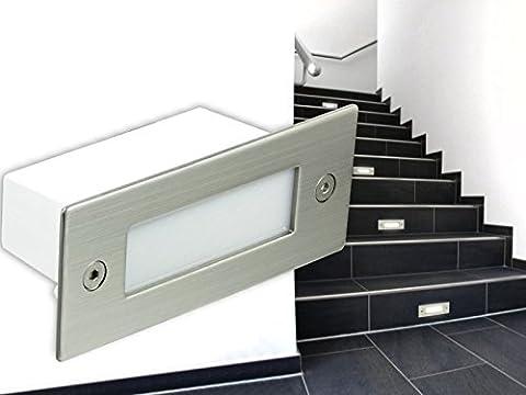 LED WAND EINBAU-LEUCHTEN, Treppen-Leuchte, Stufenbeleuchtung Piko A04 in Edelstahl gebürstet, 230V IP-54 warm-weiß [IHR VORTEIL: tolle LICHTQUALITÄT feinste VERARBEITUNG schneller EINBAU] [Unter- & Einbauleuchten]