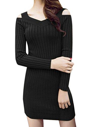 sourcingmap Femme Épaule Ajourée côtelé Mini Robe Bodycon Noir