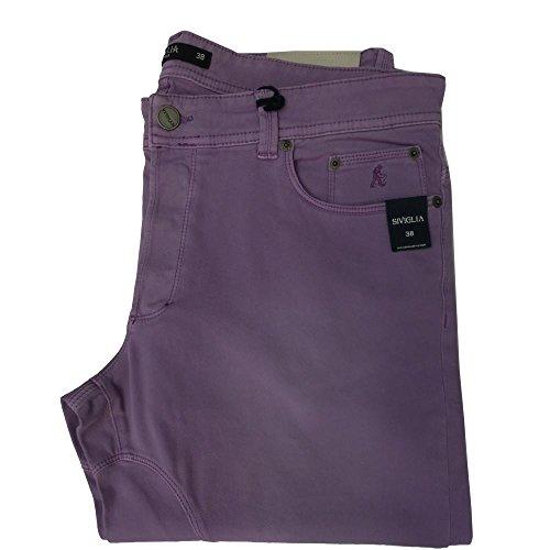 Siviglia Pantalone uomo AN53 - Slim Elasticizzato Made in Italy (38, viola)