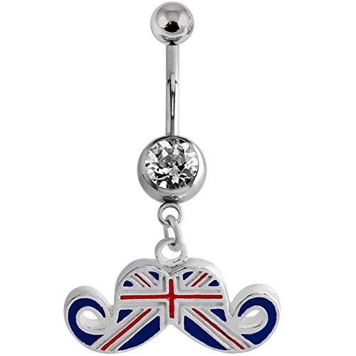 Body Jewellery. Navel Bar. Union Jack Schnurrbart Bauch Bar. 1.6mm x 10mm (Standard Größe). Ideal für FIFA World Cup, Commonwealth Games. -