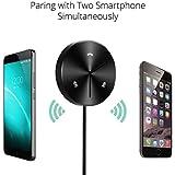 Receptor Bluetooth 4.0 Manos Libres para Coche Música y Audio Estéreo, Kit con Mic incorporado, Base Magnética, con 3 Puertos de Carga USB, Entrada 3.5mm, para iPhone, iPad, Samsung y Smartphones