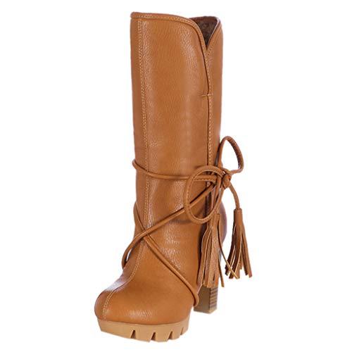 LILIHOT Damen Winter High Heel Stiefel Bow Warm Plüsch Heels Winterschuhe Stiefel Frauen Bequeme Hohe Schnee Stiefe Mode Herbst Winter Casual Schuhe Streetwear Stiefel Boots -