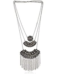 Total Fashion Silver Oxidized Black Metal Casual Traditional Turkish Style Tribal Chain Necklace For Girls & Women