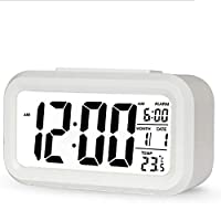 Digital Desk Alarm Clock Translucent LCD with Indoor Temprature Snooze Timer & Calendar Battery Operated Bedsite Kitchen Small Travel Electronic Clock for Kids & Heavy Sleepers