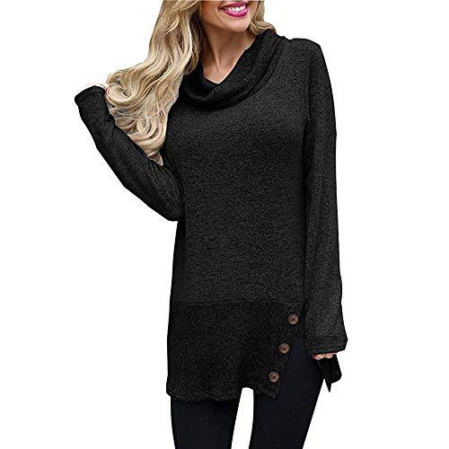 Honestyi Damen Pullover Sweatshirt Lässige Langarm Taste Cowl Neck Tunika Tops(Schwarz,XL)