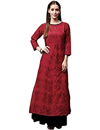 Amayra Women Cotton Straight Kurti(Red & Black)