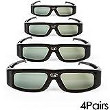 4 Pack of SainSonic® Zodiac 904 Series 144Hz Rechargeable 3D DLP-Link Projector Universal Active Shutter Glasses, Black