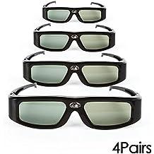 SainSonic Zodiac 904 Active - Pack de 4 gafas para proyectores 3D Ready DLP, Epson, Acer, NEC, BenQ, eMachines, LG, Optoma y Vivitek