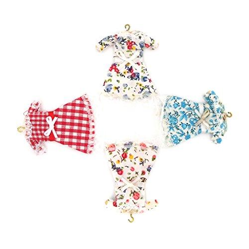 Sharplace 4 Pz Mini Bambole Miniatira Disegno Floreale Pastorale Gonna Pizzo Vestito Gancio Decorazione Casa Panno Multicolori