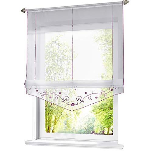 ESLIR Raffrollo mit Schlaufen Raffgardinen Gardinen Küche Transparent Schlaufenrollo Vorhänge Bestickt Modern Voile Violett BxH 60x140cm 1 Stück